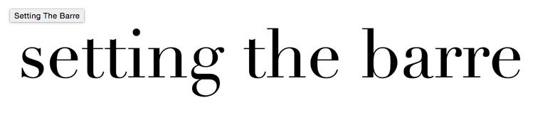 Setting the barre blog